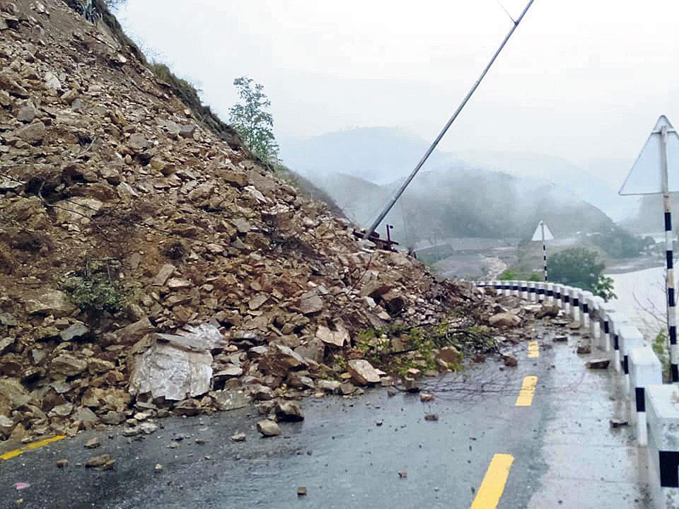 Highway bloocked by landslide