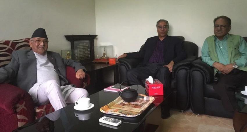 KP Oli, Prachanda and Sher Bahadur