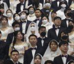 कोरियामा मास्क लगाएरै विवाह